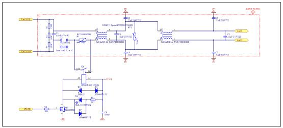 图3.两级EMI滤波器和浪涌限流电路