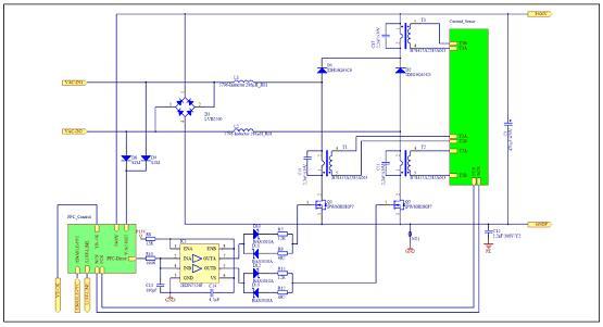 图4.两级升压半无桥PFC转换器电路