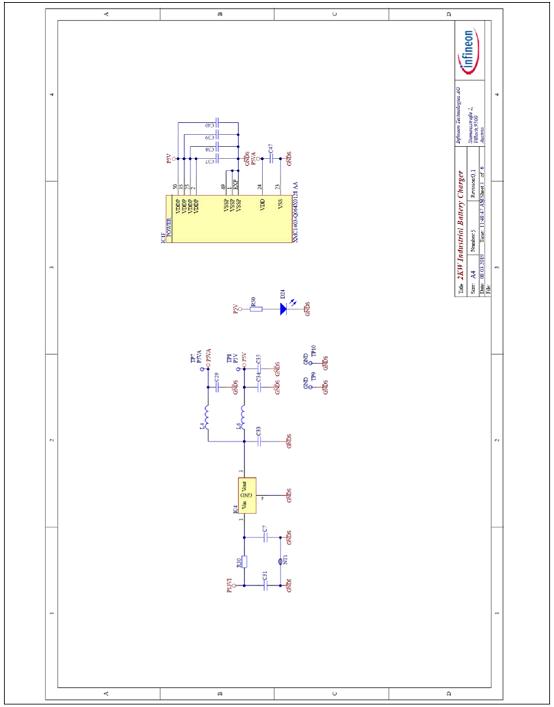 图23. 工业电池48V充电器参考设计控制板电路图:XMC微控制器输入电压电源