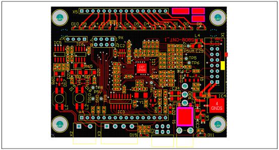 图27. 工业电池48V充电器参考设计控制板PCB设计图:顶层