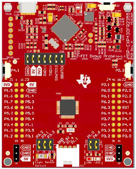 图2. 开发板MSP‑EXP430FR2355 LaunchPad™外形图